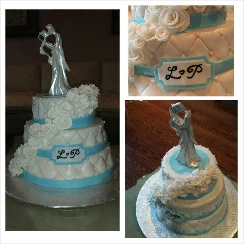 Anna's cake creations!  Three tiered quilted wedding cake draped with roses and candy pearls,  finished with monogram initials. Vanilla cake with raspberry filling.