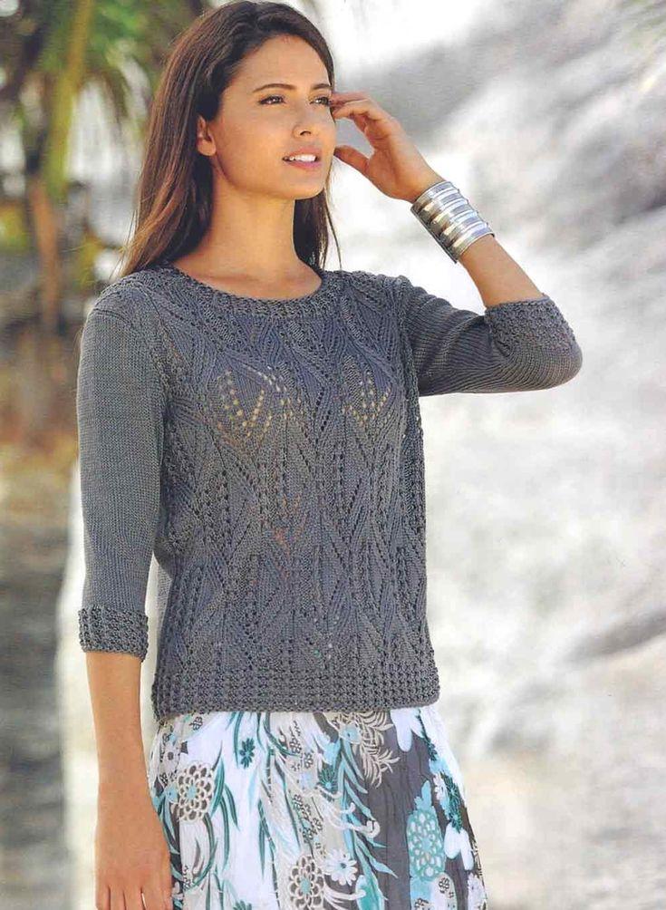 Вязание крючком и спицами - Пуловер из шелковой пряжи ажурным узором