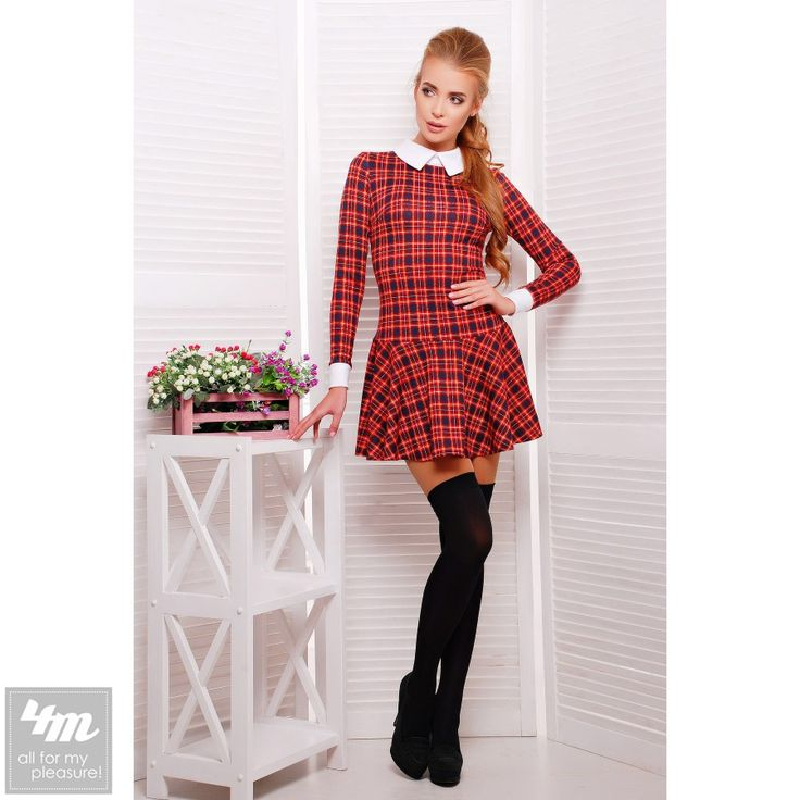 Платье Glem «Элис Д/Р» (Темно синий-красная мелкая клетка - белая отделка) http://lnk.al/3Yz5  #лук #нарядныеплатья #платье #платьемечты #топ #новинки #одеждаУкраина #4m #4m.com.ua