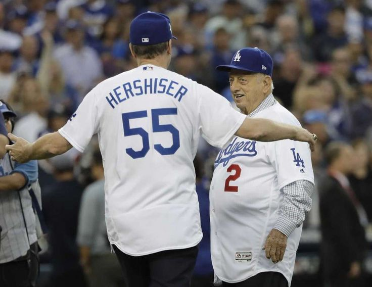 October 31, 2017:  The Latest: Dodgers rally against Verlander, force Game 7.  Orel Hershiser and Tommy Lasorda throw out the ceremonial first pitches before Game 6 of baseball's World Series between the Houston Astros and the Los Angeles Dodgers Tuesday, Oct. 31, 2017, in Los Angeles. Photo: David J. Phillip, AP / Copyright 2017 The Associated Press. All rights reserved.