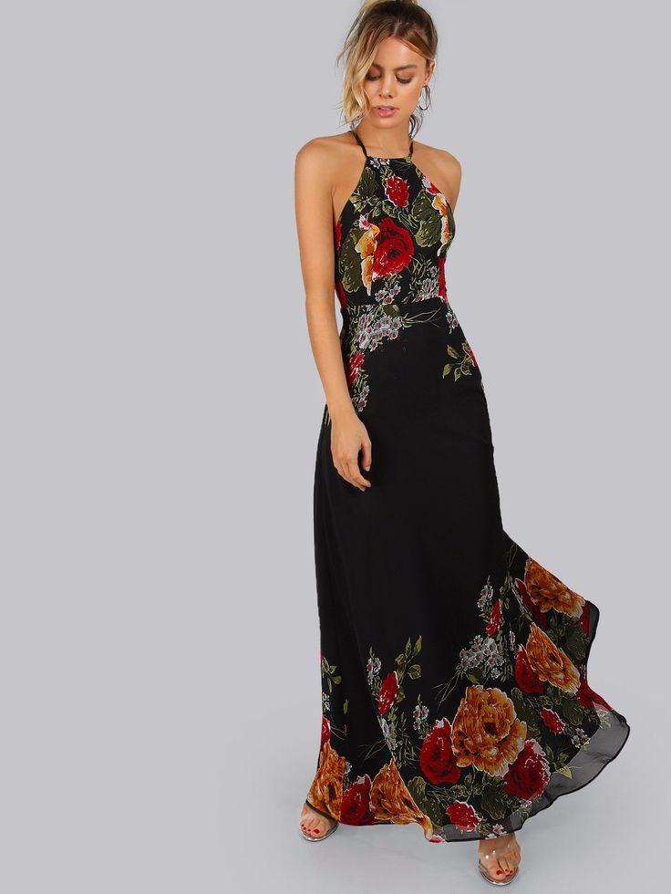 Elegant Black Flower Print Halter Neck Open Back A Line Casual Party Maxi Dress   eBay