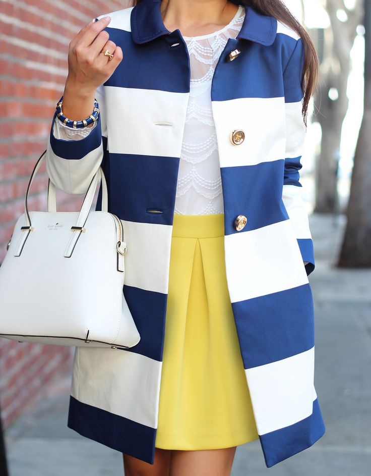 Striped coat with back bow belt and gold buttons // Details here: http://www.stylishpetite.com/2014/02/kate-spade-new-york-striped-franny-coat.html