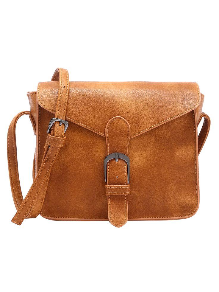 Bolsa+de+solapa+de+correa+de+cuero+sintético+con+hebilla+-marrón+16.67