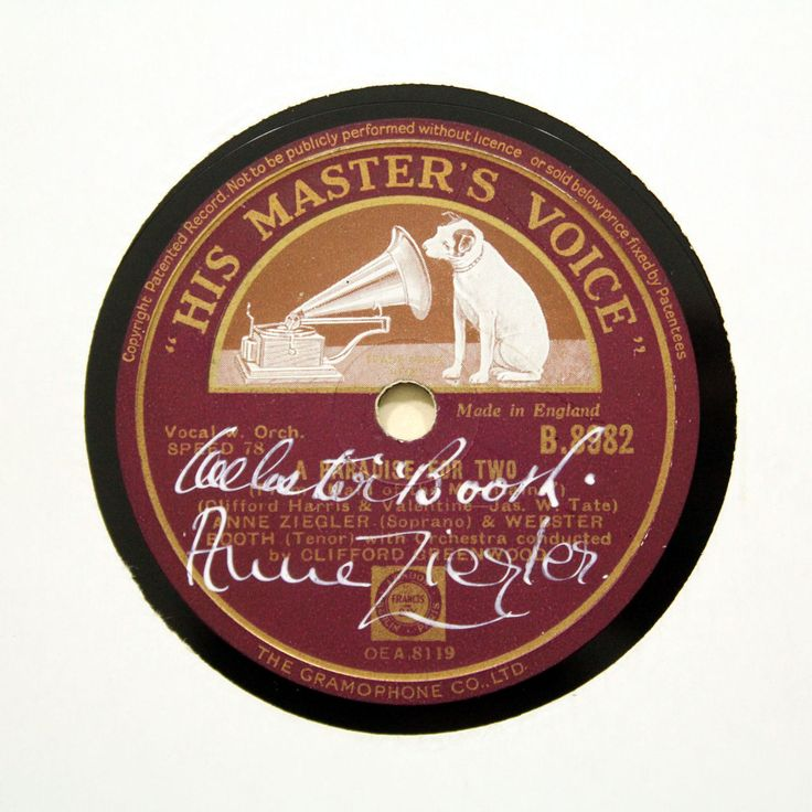 """Autographed ANNE ZIEGLER & WEBSTER BOOTH """"Paradise For Two"""" HMV B-8982 [78 RPM] 