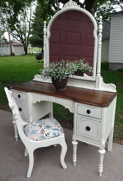 antique vanity refinished in french vanilla, painted furniture, Voila I also found this sweet little chair to go with
