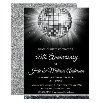 The 25 best 50th anniversary invitations ideas on pinterest silver 50th anniversary party disco ball card solutioingenieria Gallery