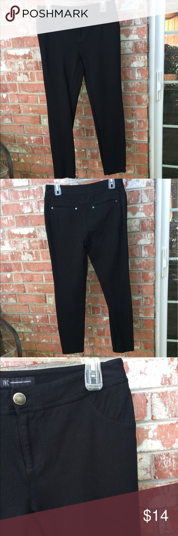 """INC Black Legging Pants 2 back pockets. Medium thickness. Zips and buttons. 29"""" inseam, 9"""" rise, 15"""" waist. 65% rayon, 30% nylon, 5% spandex. Worn a few times. Always gently washed and line dried. In new condition. INC International Concepts Pants Skinny"""
