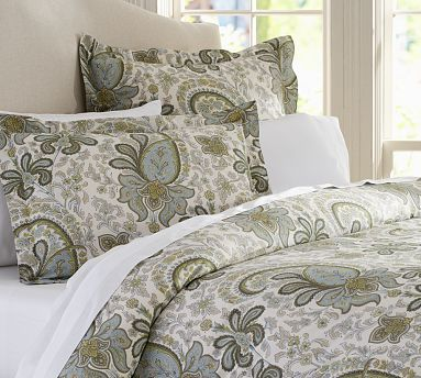 Charlie Paisley Sham & CA King Duvet Cover - Blue  Fanciful paisleys drawn from an antique French wallpaper print swirl across ivory bedding, woven from pure organic cotton for a silky smooth hand.  200-thread count.  Oeko-Tex certified.  Duvet cover and sham reverse.   #potterybarn