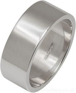 8mm Silver Flat Profile Wedding Ring