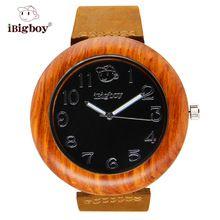 iBigboy Wooden Watches Special Unique Padauk Wood Black Face Japan Quartz Leather Strap Luminous Analog Wristwatch IB-1611Ha(China (Mainland))