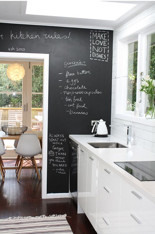 This kitchen is the same layout as mine, love the white and the blackboard wall