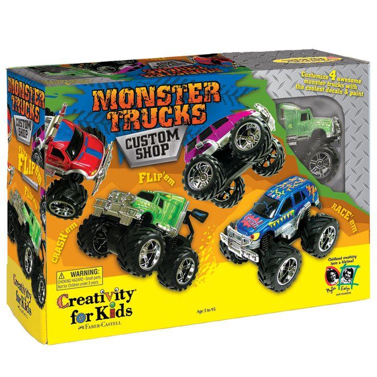Creativity for Kids Monster Truck Custom Shop Activity (4 trucks, stickers, acrylic paint)