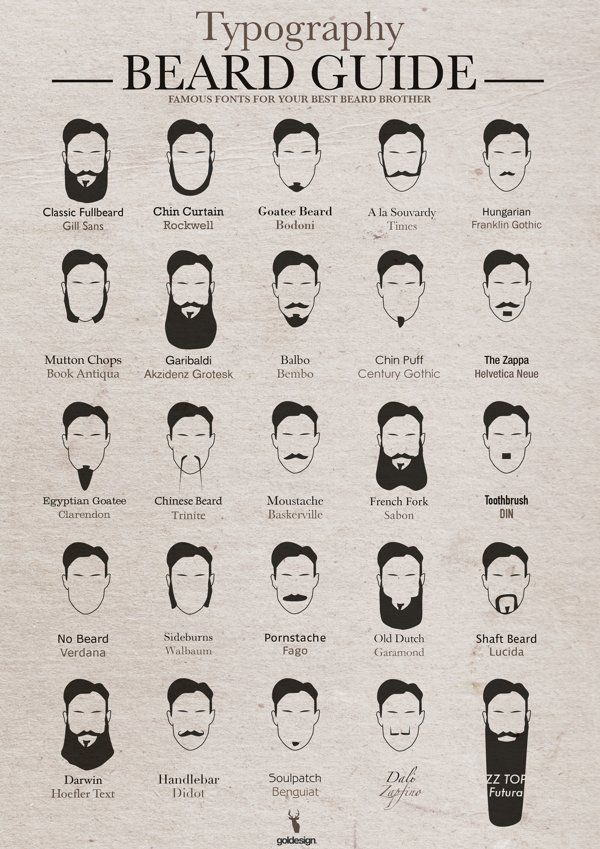 Typography Beard Guide Matches Fonts With Popular Types of Beards