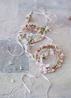 Delicate Pink & White Flower Crowns |   Photography: Elizabeth Messina. Read More:  http://www.insideweddings.com/weddings/fairy-tale-wedding-with-enchanted-forest-theme-in-santa-barbara/778/