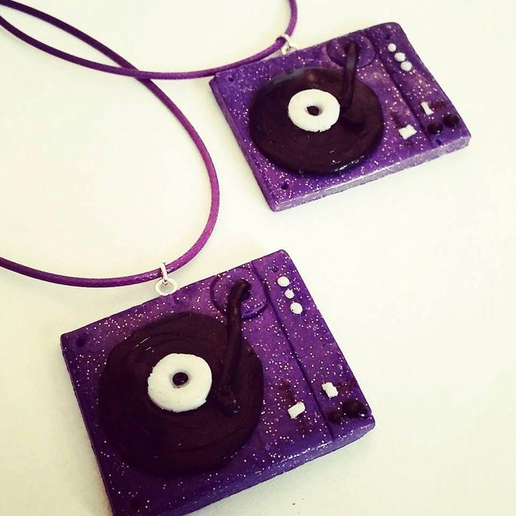 1 x Purple Glittery #DJ Decks #Necklace | Handmade from polymer clay by AeysheaJones on Etsy