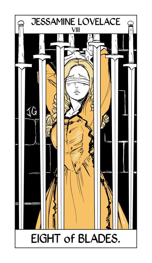 Jessamine Lovelace's Tarot card by Cassandra Jean. The eight of swords, often shown as a prisoner.