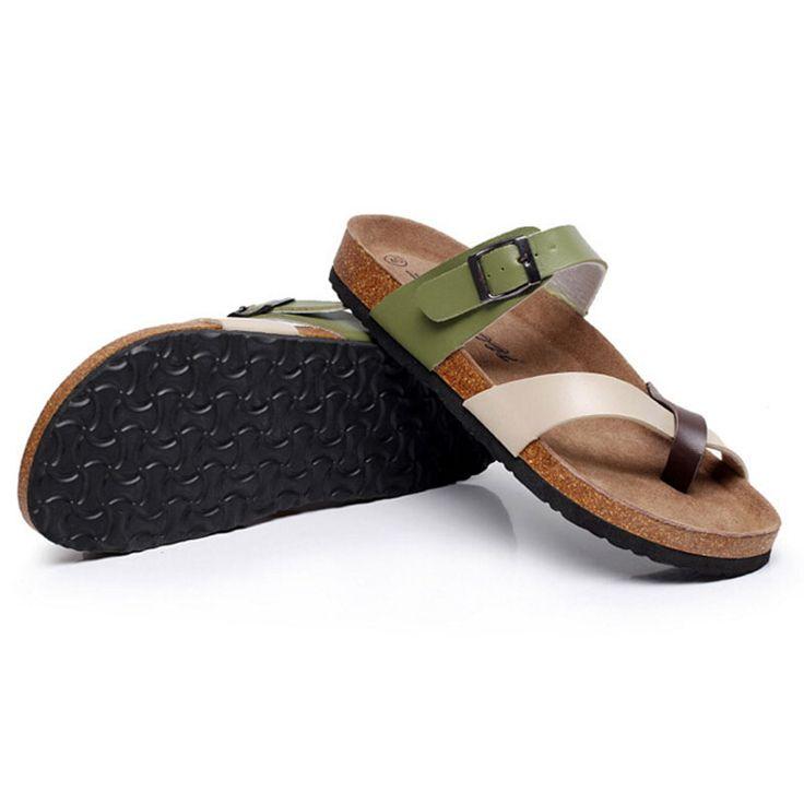 Aliexpress.com: Comprar 2016 Nuevos Hombres de Moda Sandalias De Corcho Color Mezclado de Los Hombres Zapatillas de Playa de Ocio Bajo Plataforma Flip Flop Zapatos Hombre # GU240 de shoes badminton fiable proveedores en GTIME Nice1Shoes Store