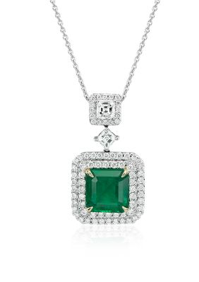 Make this Christmas one to remember! This one-of-a-kind pendant showcases a vibrant emerald surrounded by pavé-set diamonds set in 18k white gold.