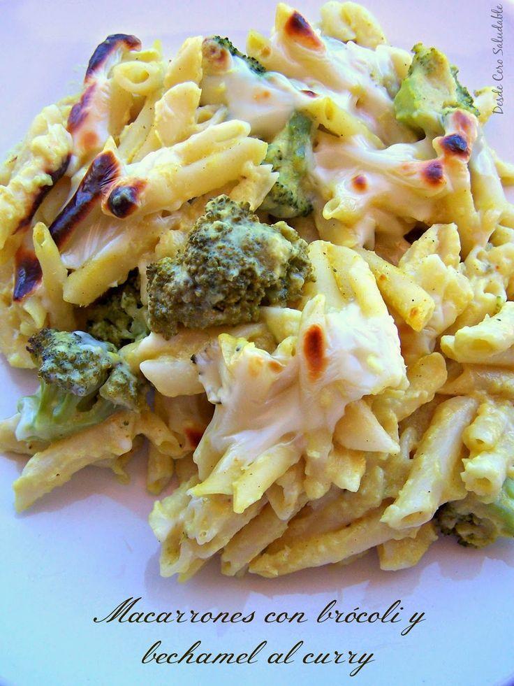 Macarrones con brócoli y bechamel al curry (Thermomix) -11pp- | Desde Cero Saludable