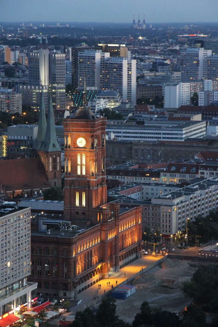 Rotes Rathaus  (Red City Hall) -  http://andberlin.com/2012/08/20/sunset-over-berlin-the-view-from-the-park-inn-on-alexanderplatz/
