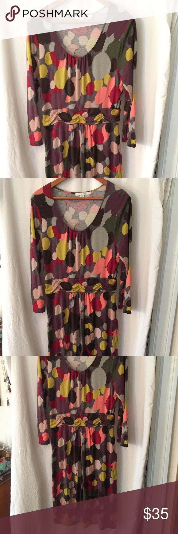 """BODEN spotty jersey dress w ruched waist Fun, bold spotty pattern in red, purple, magenta, yellow and gray.  Drop neckline, ruched waist w elastic, easy jersey skirt.  UK size 18/US 14R.                                                        Measurements, unstretched and laying flat:  chest 21"""", front length, 37"""", waist 18"""", back length, 42"""", hem, 26"""" Boden Dresses Long Sleeve"""