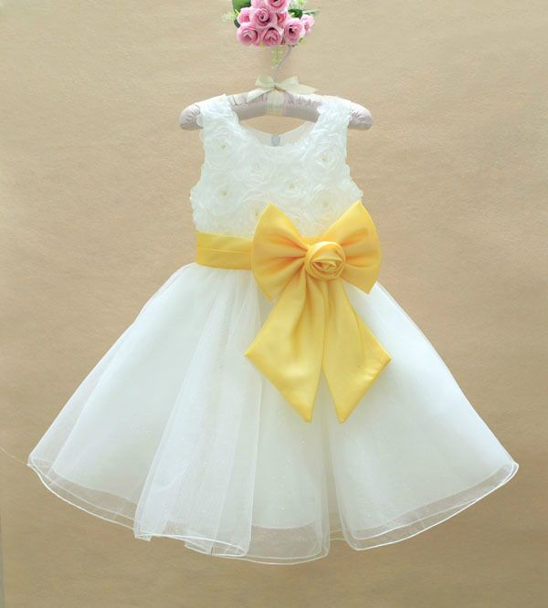 New Girls white and yellow lemon dress Flower Brides Maid formal AGE 123456789