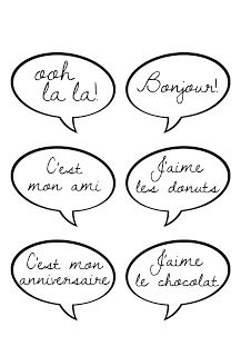 French speech balloons for photo booth - Free printable (Print/enlarge to A3)