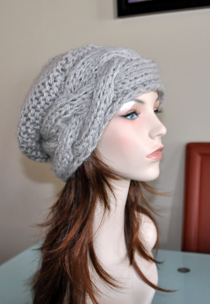 Slouch Beanie Slouchy Hat Cable Hand Knit Winter Adult by lucymir, $39.99
