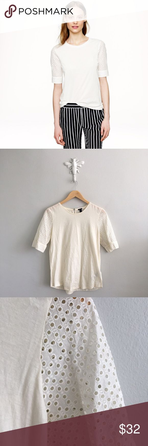 "J. Crew Womens Cream Eyelet Back Zip Up T-Shirt 100% cotton. Chest: 36"". Length: 25"". Gently pre-loved with no rips or stains. Please see all pictures for an accurate description of condition. J. Crew Tops Tees - Short Sleeve"