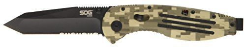 SOG Specialty Knives AE07BX Aegis Tanto Partially Serrated Tini Knife Digi Camo Black -- You can find more details by visiting the image link.