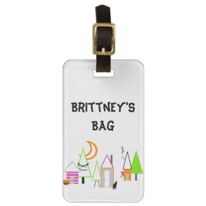 halloween village custom black orange purple luggage tag - Halloween happyhalloween festival party holiday