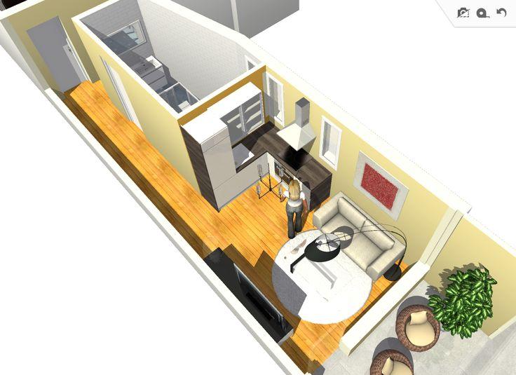 """Vista general zona cocina y salón. La cocina se distribuye en """"L"""", abierta al salón para ampliar el espacio disponible."""