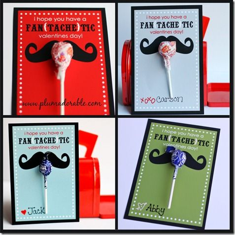 Hercule Poirot type mustaches with candy on cars for Valentine's day! Pin leads to template she will let you print for free at plum adorable's blog.