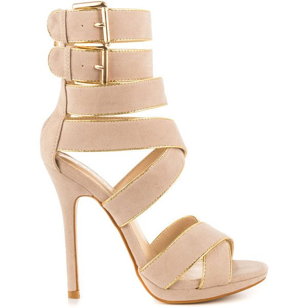 Liliana Women's Rome - Nude ($60) ❤ liked on Polyvore featuring shoes, sandals, heels, high heels, saltos, beige, nude heel sandals, nude sandals, gold strappy sandals and gold platform sandals