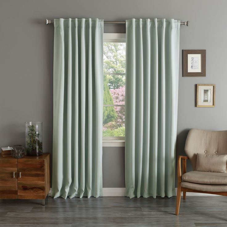Aurora Home Rod Pocket Blackout Curtain Panel (Pair) (Mint 63 L), Green, Size 52 x 63 (Polyester, Solid)