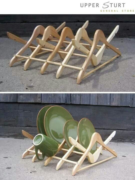 Wooden dish rack made from old coat hangers