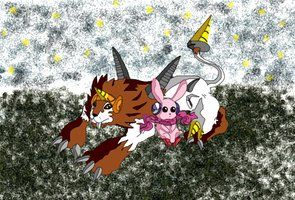Dorulumon y Cutemon de Digimon Xros Wars