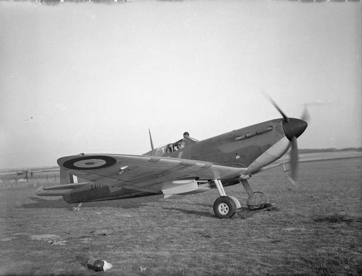 Spitfire Mk IA, X4179 'QV-B', of No. 19 Squadron RAF, on the ground at Fowlmere, Cambridgeshire