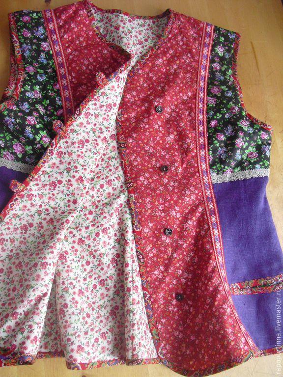 Купить Лоскутный жилет - разноцветный, жилетка фольклорная, льняная жилетка, фольклорная одежда, лоскутная одежда
