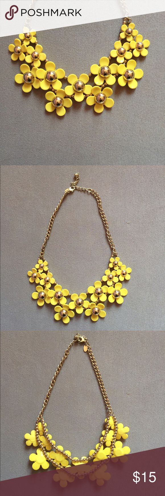 NWOT Yellow and Gold Floral Statement Necklace Gold with yellow Statement necklace with various sized flowers From Charming Charlie Metal with rubber/plastic flower petals no flaws, never worn but no tags  I'm 5 7 and 130lbs- for sizing smoke free home everything comes washed willing to bundle at 15% off don't like the price? offer! ask questions! Charming Charlie Jewelry Necklaces
