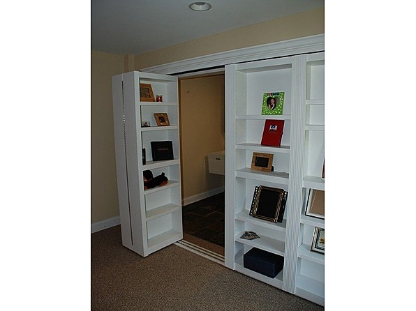 Bookshelf closet doors in study. Can also provide a secret area behind the shelves.