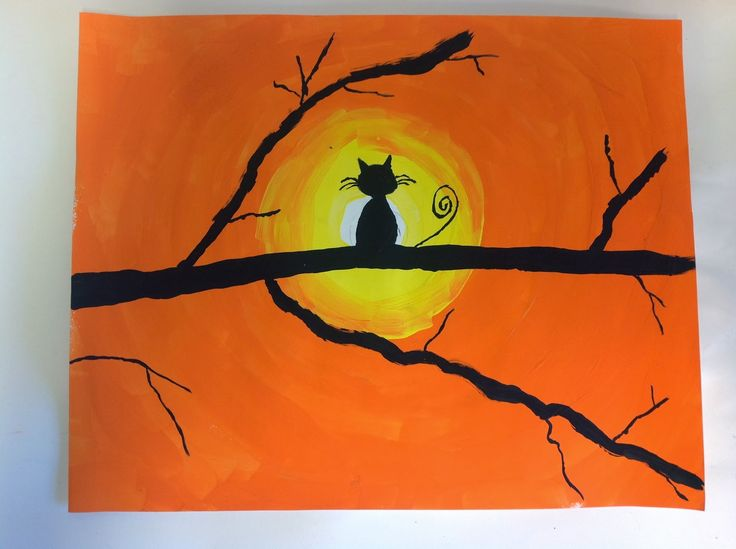 Color It Like you MEAN it!: Cat Silhouette Sunsets - 5th grade