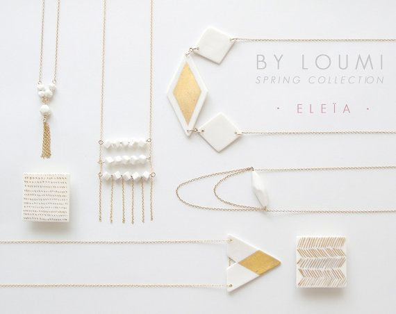 N a ï a  Simple geometric jewelry  Unglazed white by ByLoumi