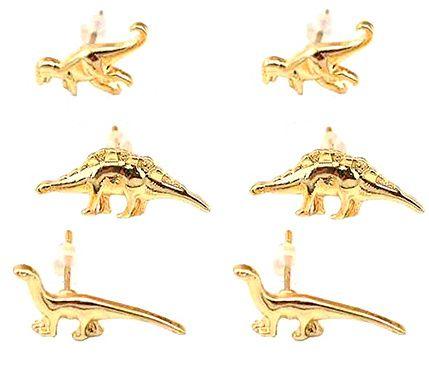 3 Paar goudkleurige dinosaurus oorstekers