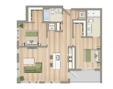 Two Bedroom Floor Plan Aria On L In Northeast Washington DC WC Smith Apar
