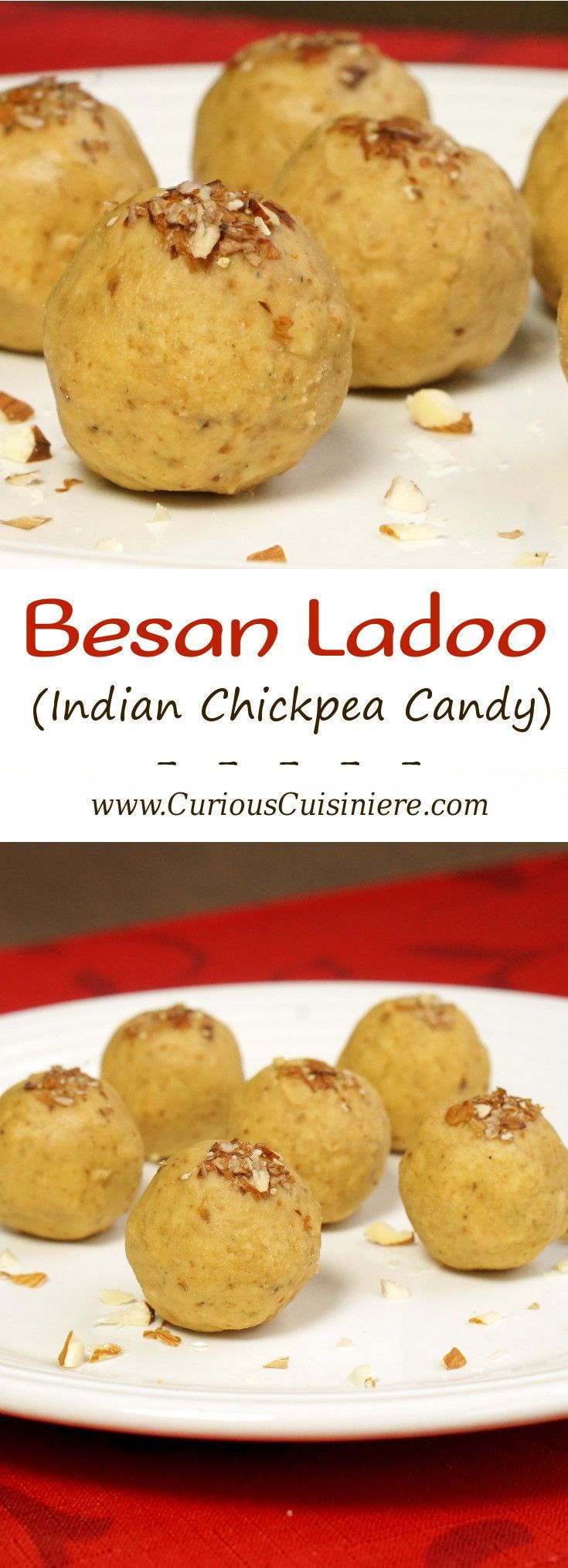 It's easy to make these nutty and sweet, no bake Indian chickpea treats. Besan Ladoo are a perfect gluten free treat to add to a cookie platter! | www.CuriousCuisiniere.com