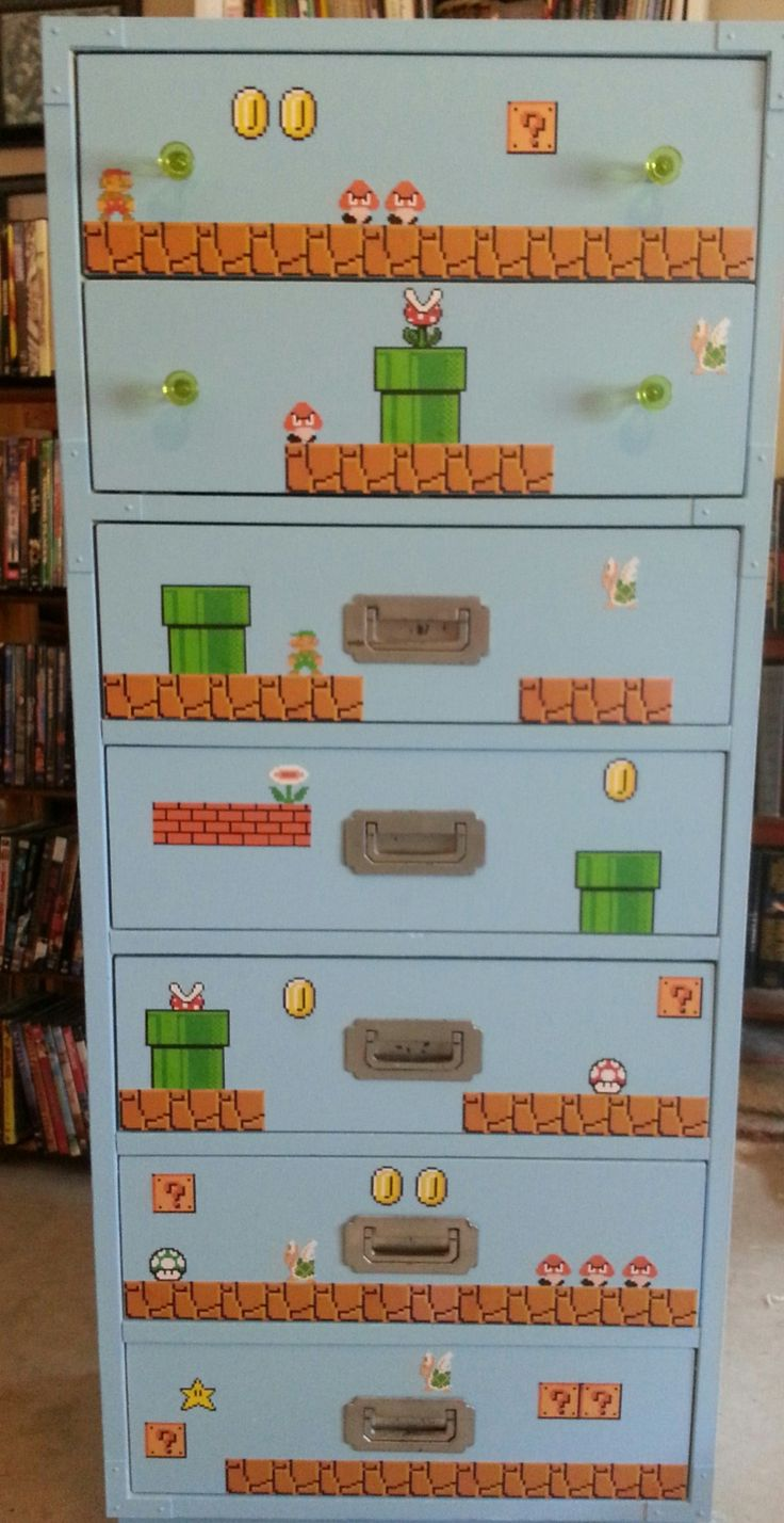 Done with my Mario Bros Dresser!! This is going in my sewing room. The other furniture I think will all have video game themes too!