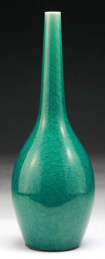 "A Chinese Antique Blue Glazed Porcelain Vase of 19th Century; Size: H: 9"""
