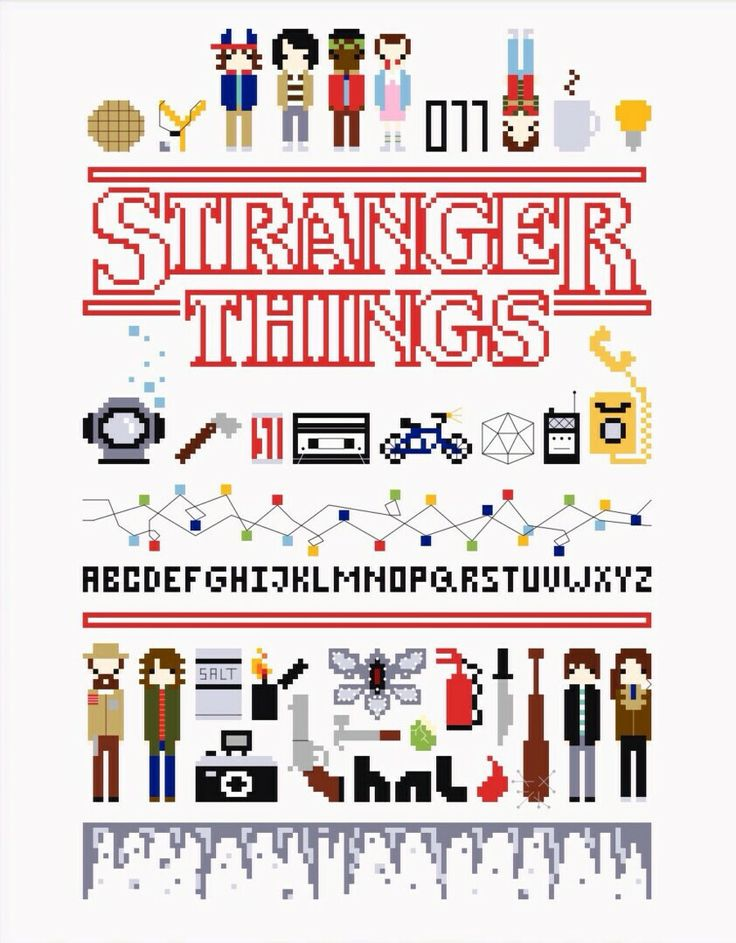 """By  TheNightOwlStitchery on Etsy.  """"Still thinking about how great the first season of Stranger Things was? Join the gang again with this collage style cross-stitch pattern featuring some of the most memorable symbols, items and characters from the show.""""  #strangerthings #crossstich #8bit"""