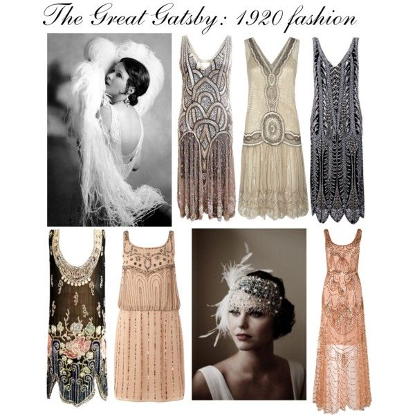 The Great Gatsby: 1920 fashion by tiinan on Polyvore featuring Untold, Jigsaw, Oleg Cassini, Phase Eight, Gatsby, flapper dresses, headpieces, feathers and 1920s